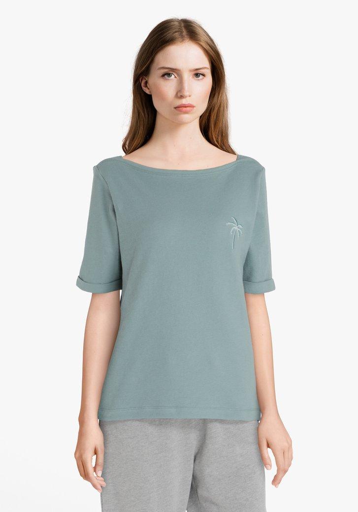 Afbeelding van Aquagreen T-shirt met palmboom