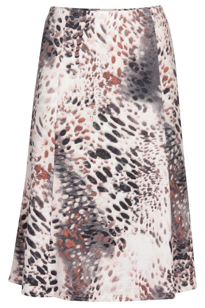 0415c25f0596cb Beige A-lijn rok met rozige print