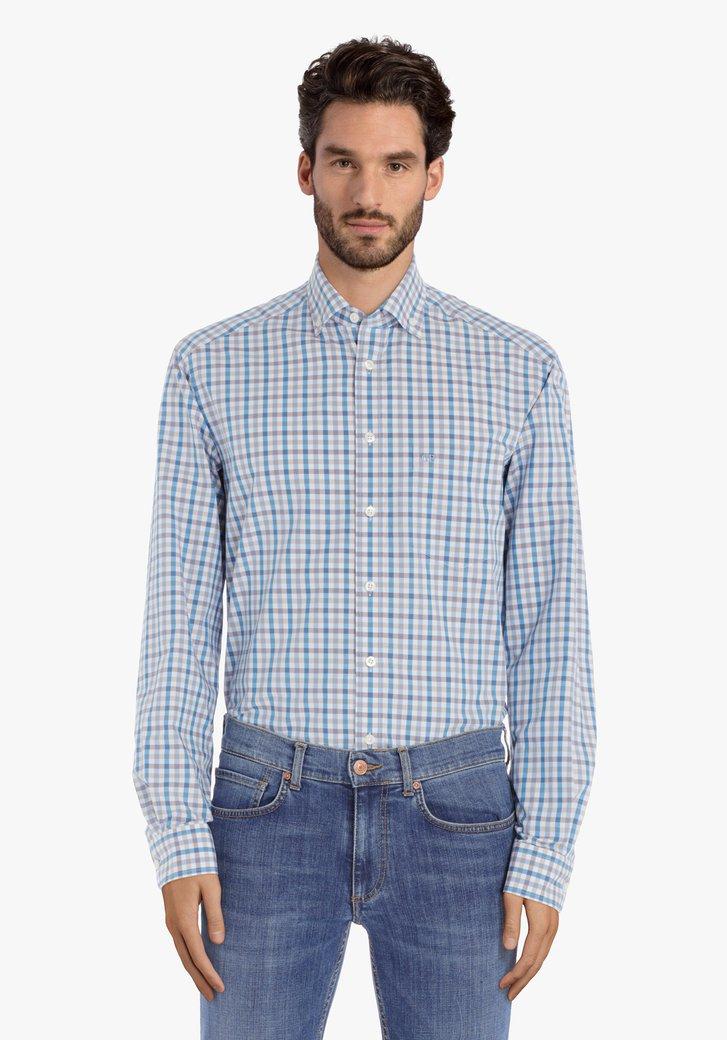 Afbeelding van Beige-blauw geruit hemd – comfort fit