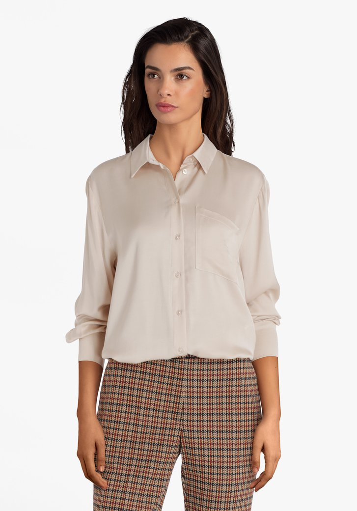 Beige blouse in viscose