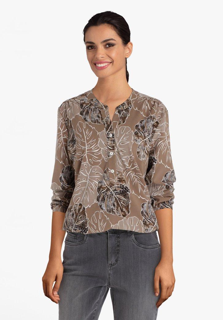 Beige blouse met bladermotief