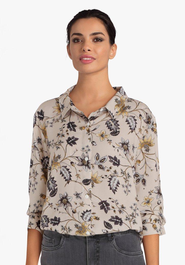 Beige blouse met bloemenprint