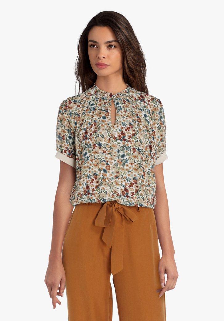 Beige blouse met bruin-blauwe bloemetjes