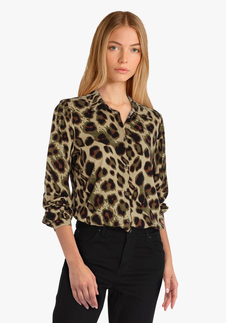 Beige blouse met dierenprint