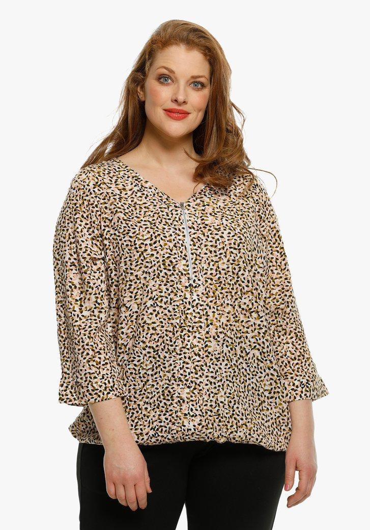 Beige blouse met gevlekte print