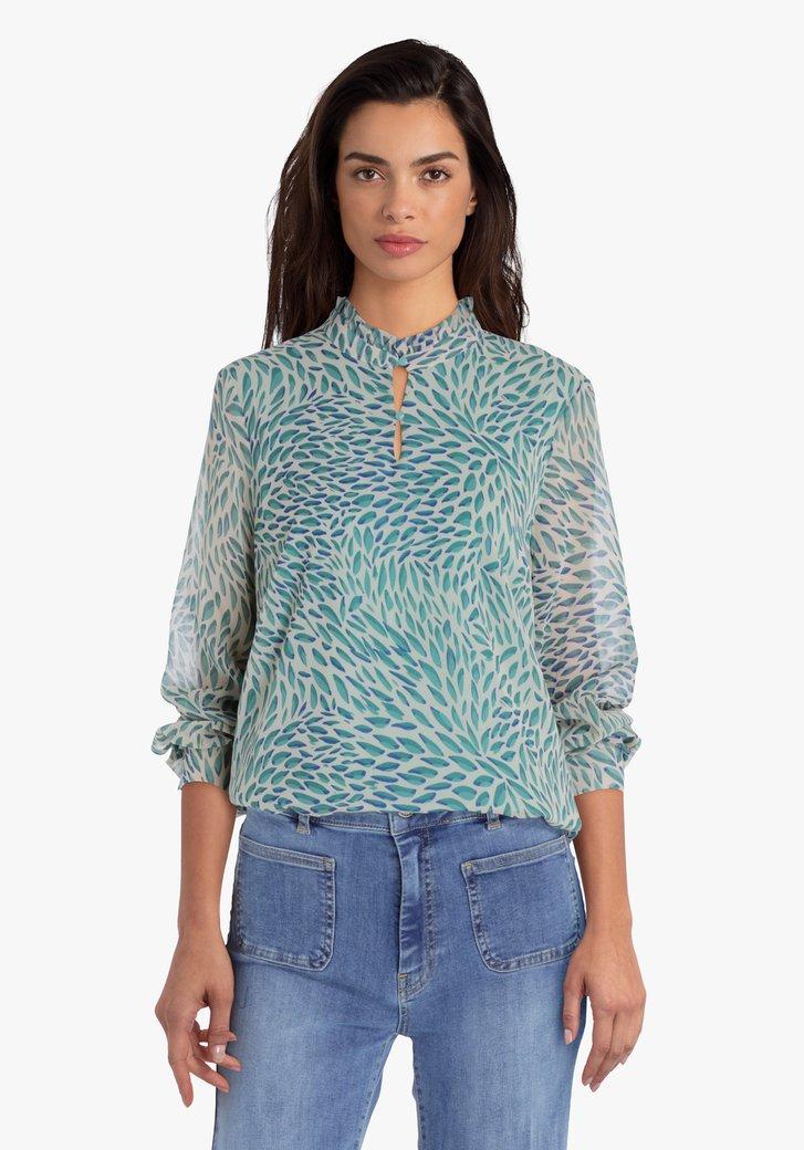 Beige blouse met groene print