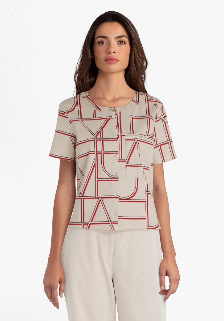 Beige blouse met letterprint