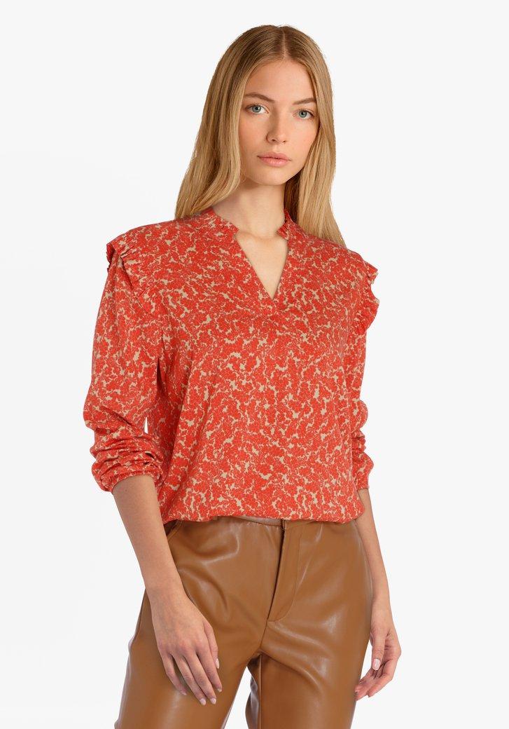 Beige blouse met oranje bloemenprint
