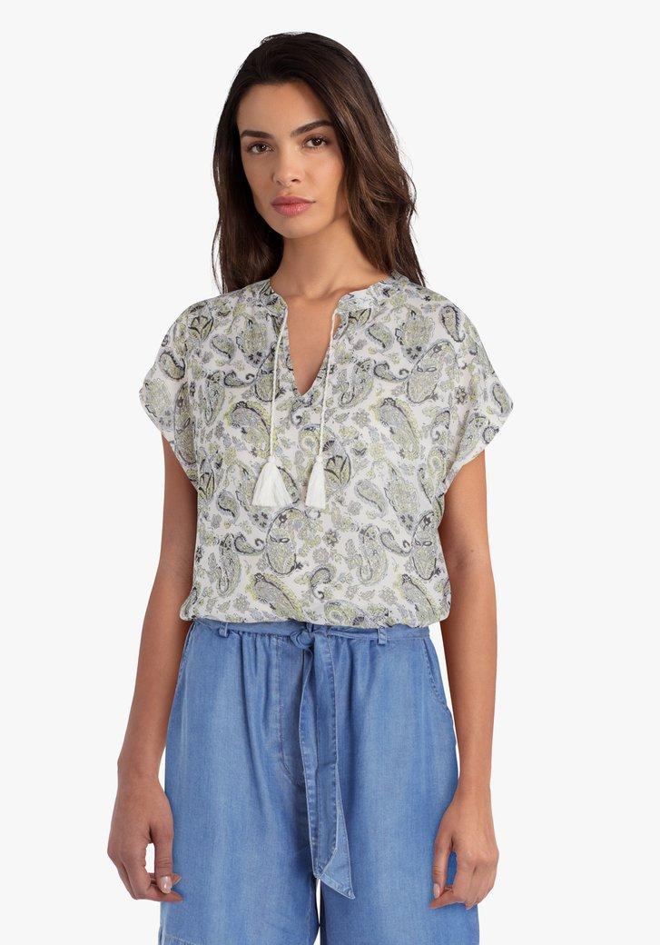 Beige blouse met paisley print