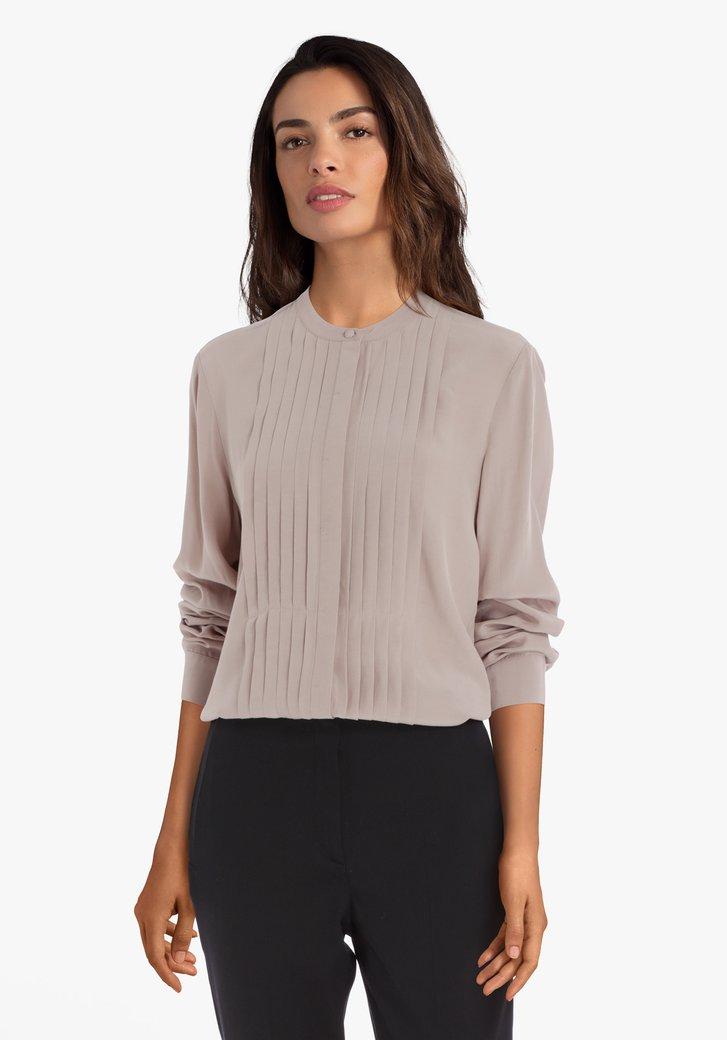 Beige blouse met plissé stof