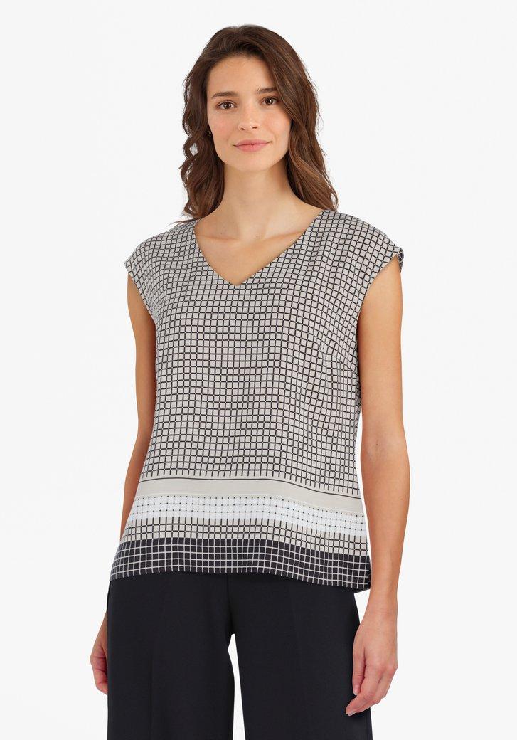 Beige blouse met zwart geruite print