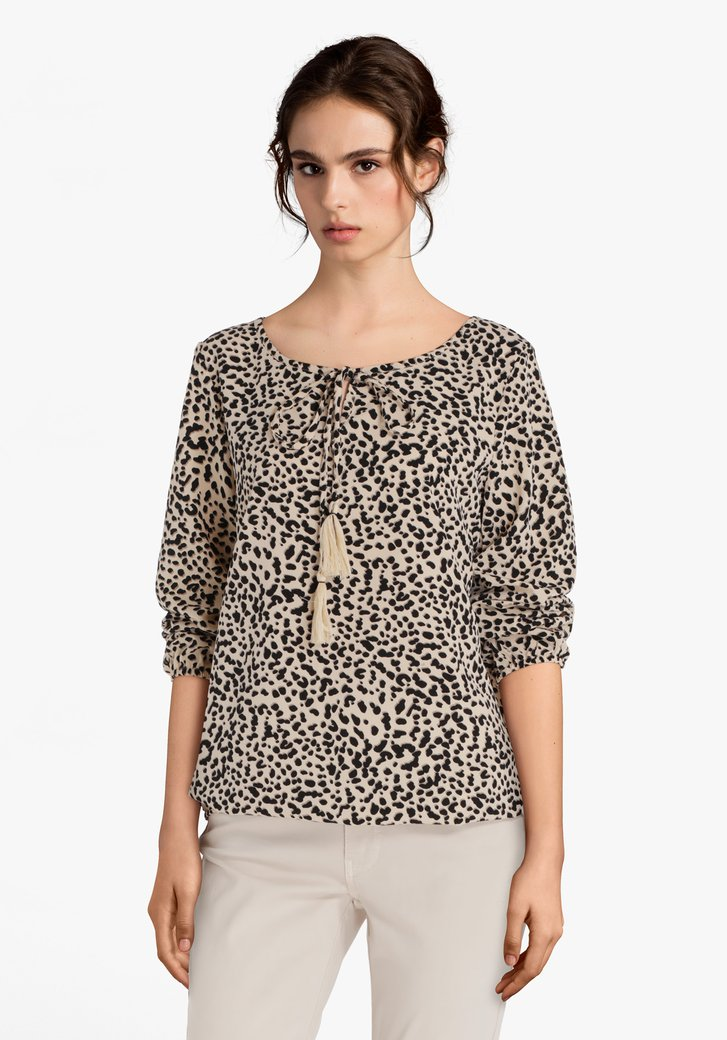 Beige blouse met zwarte panterprint