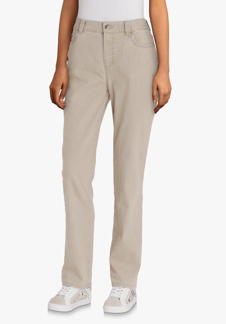 Beige broek in stretchkatoen – comfort fit