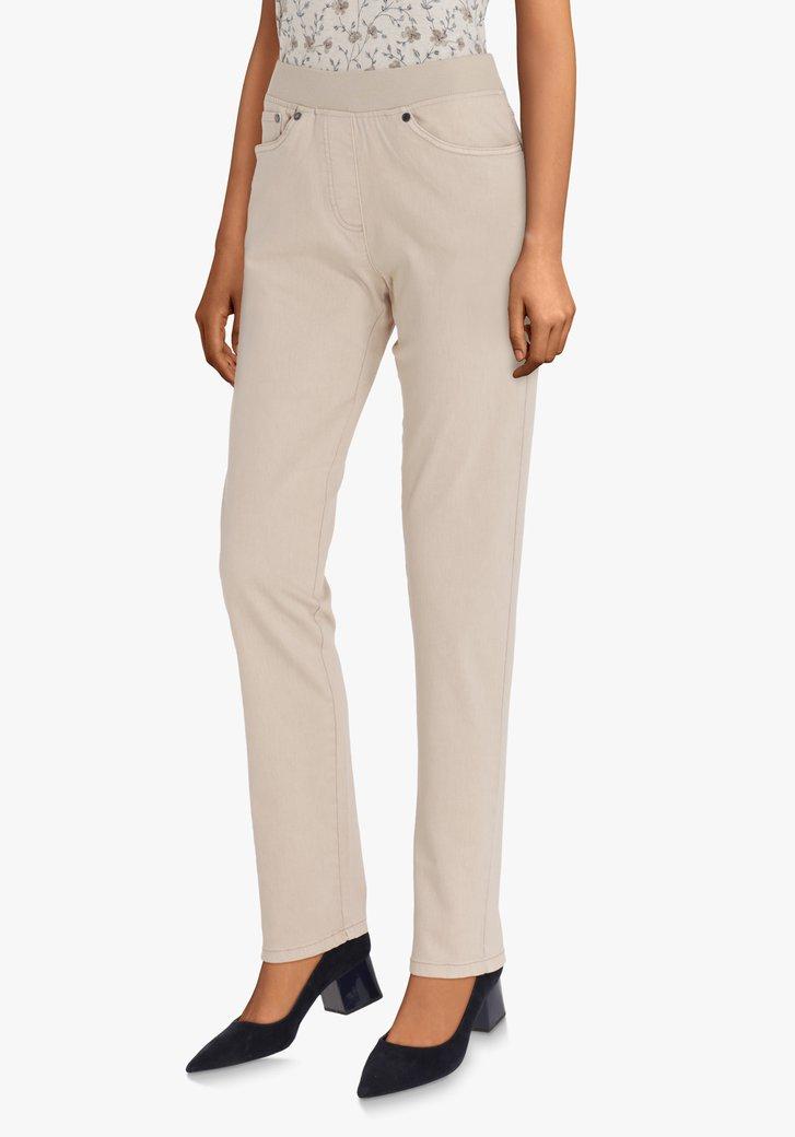 Afbeelding van Beige broek met elastische taille – comfort fit