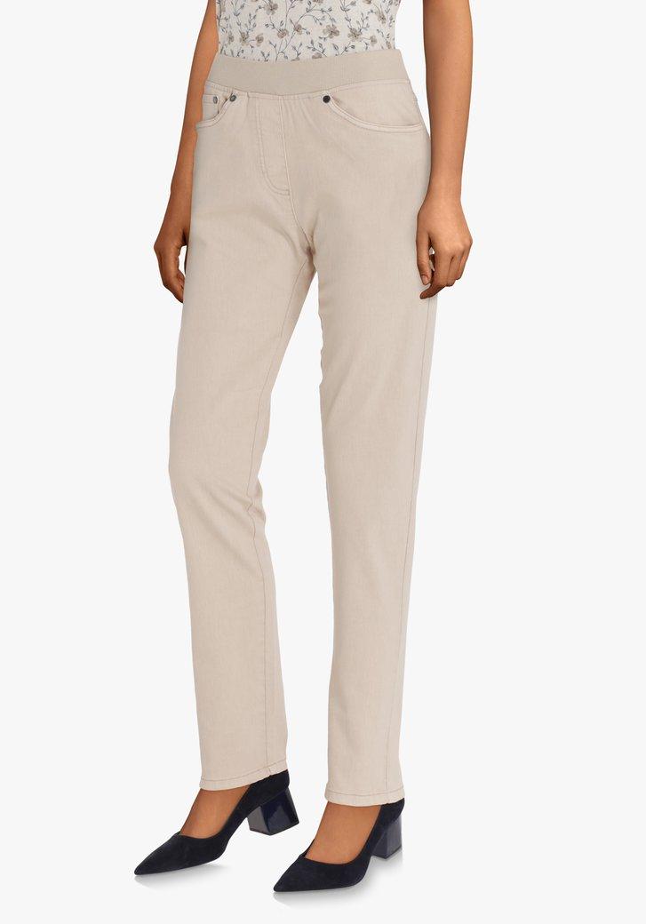 Beige broek met elastische taille- comfort fit L32