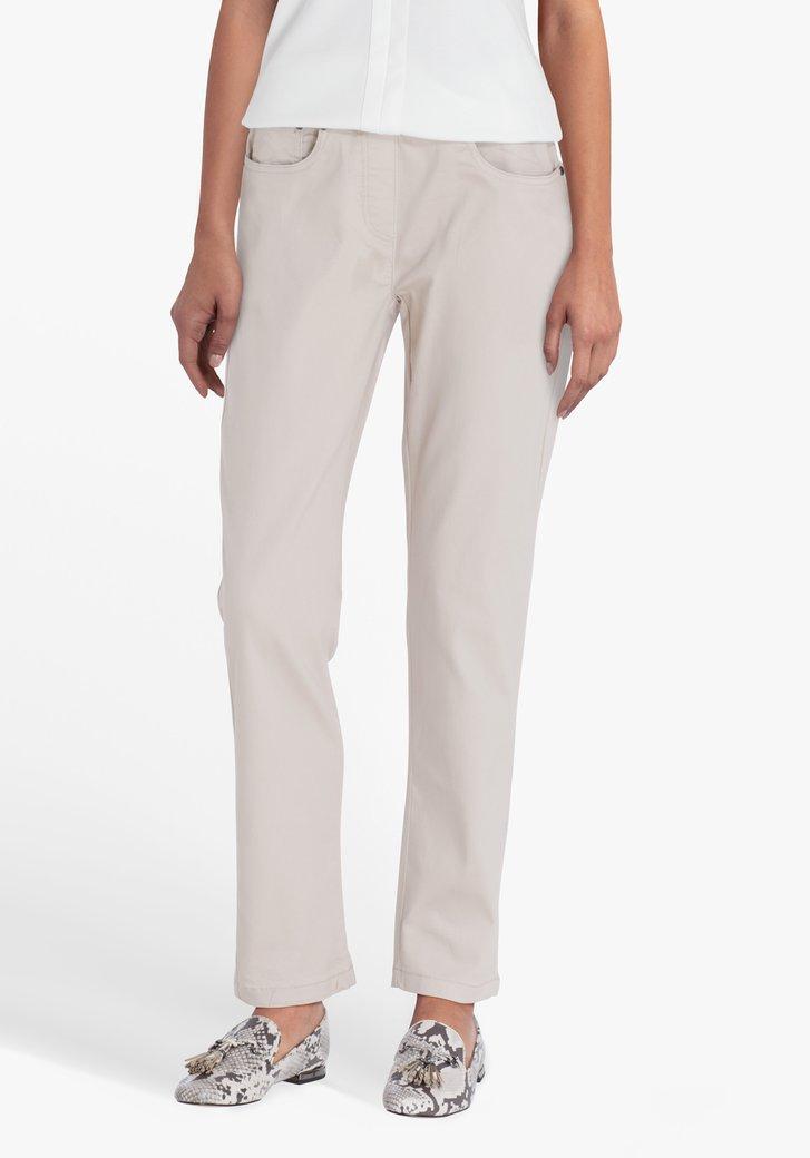 Beige broek met elastische taille - straight fit
