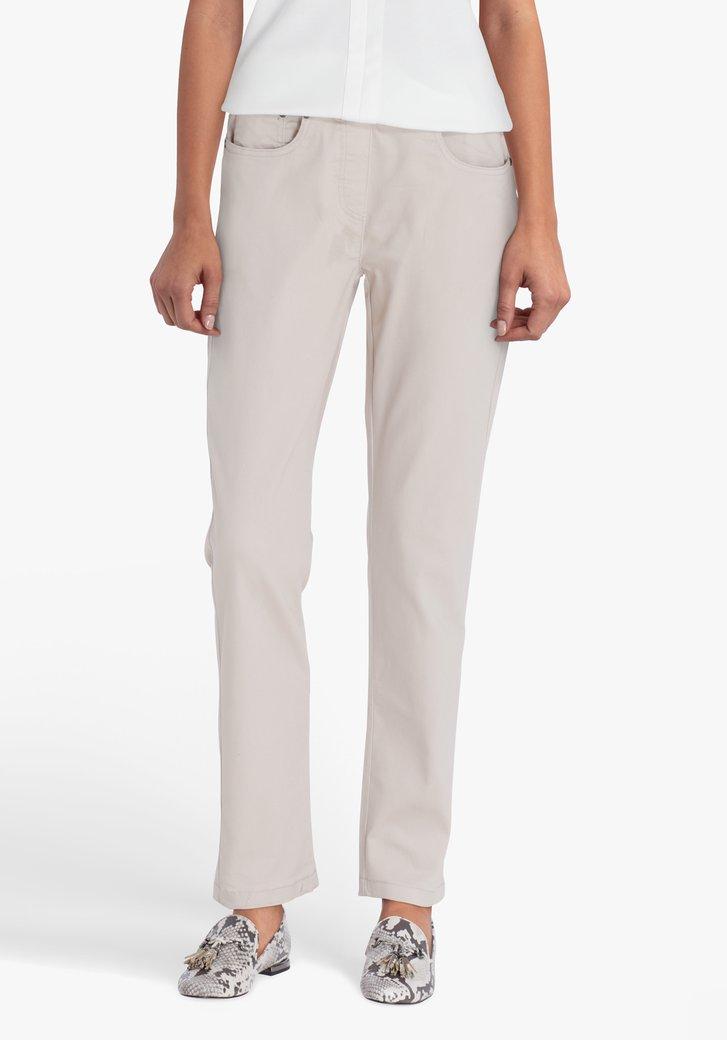 Beige broek met elastische tailleband - L30