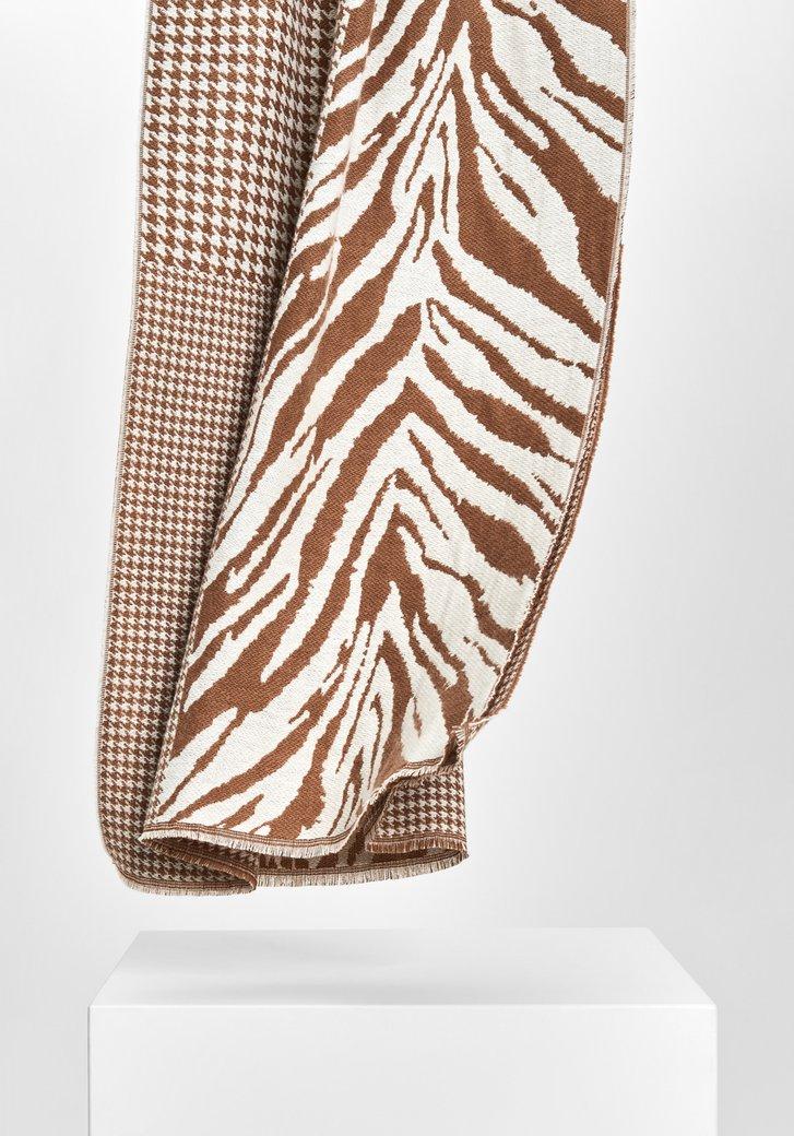 Beige-bruine sjaal met twee prints
