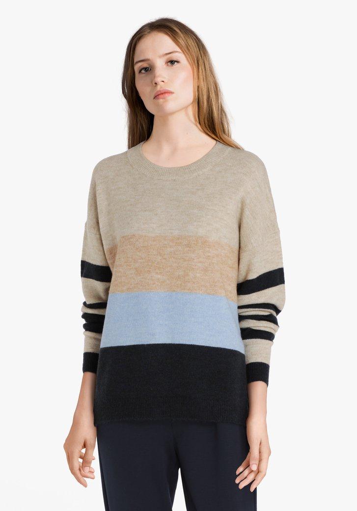 Afbeelding van Beige 'colorblocking' trui met wol