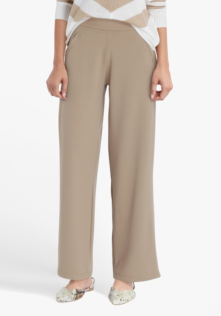 Beige geklede broek met brede pijpen-straight fit