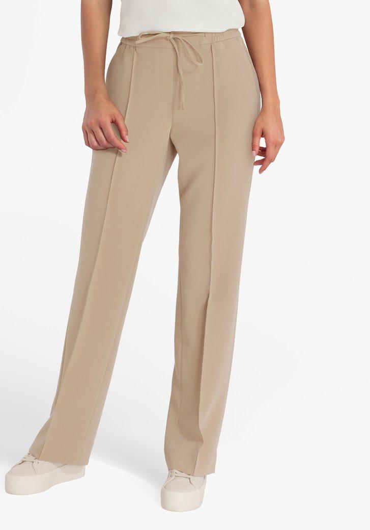 Beige geklede broek met elastische taille