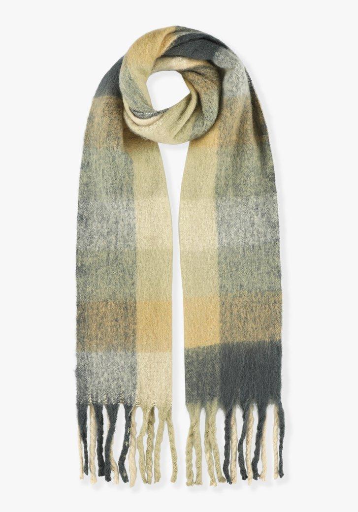 Beige-grijze geruite sjaal