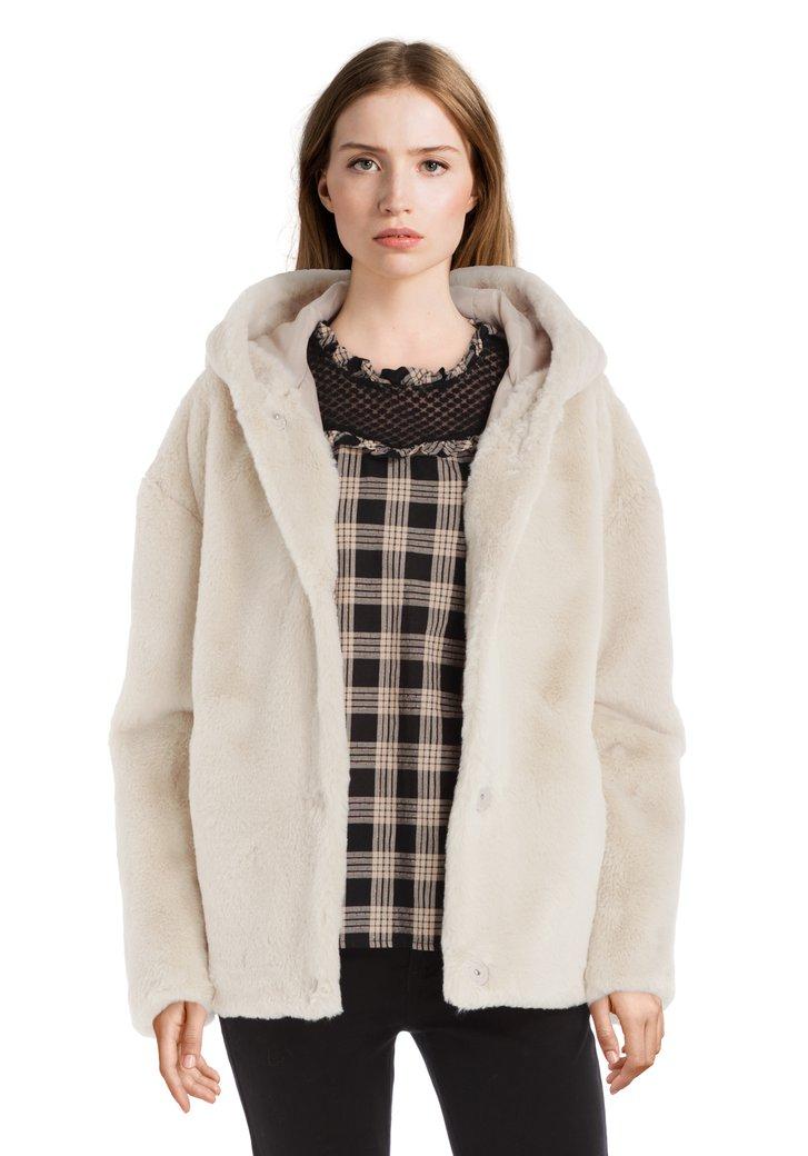 Afbeelding van Beige jas in faux-fur met kap