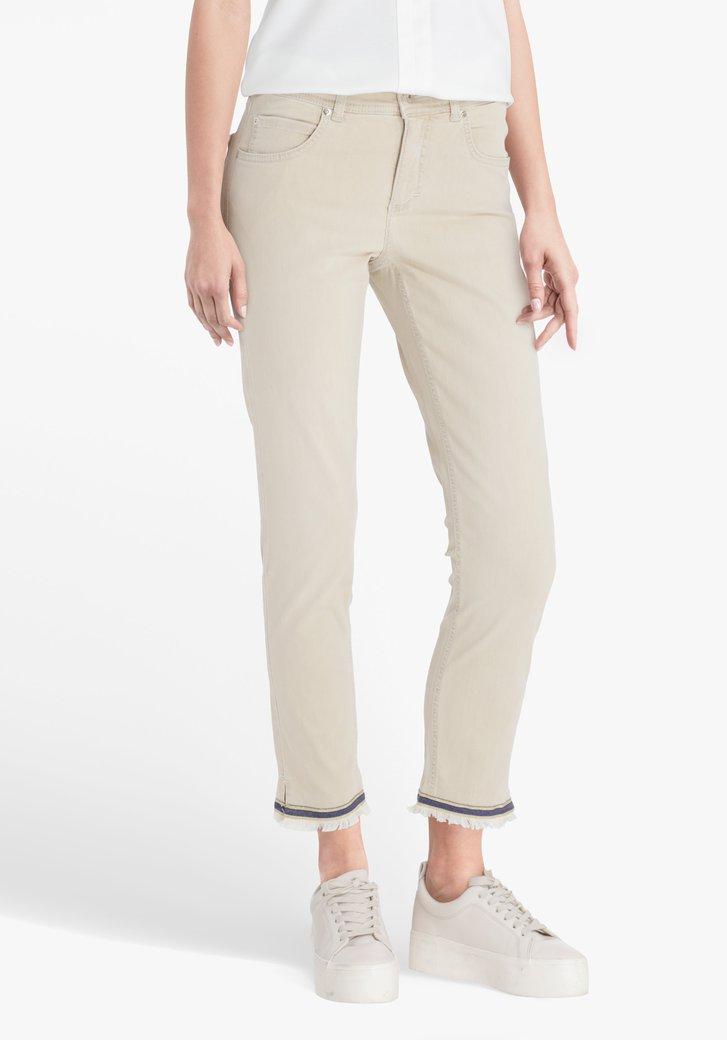 Beige jeans met rafels en glitter - slim fit