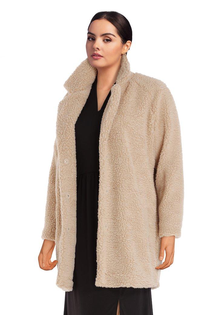 Afbeelding van Beige mantel in teddy