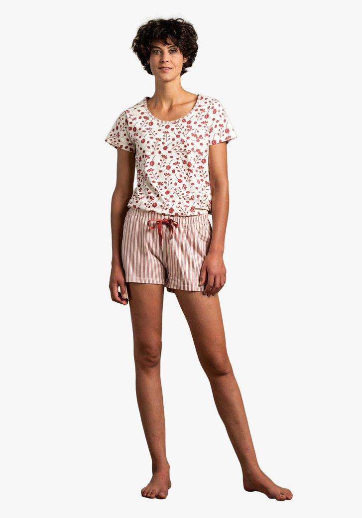 Beige pyjama met bordeaux print
