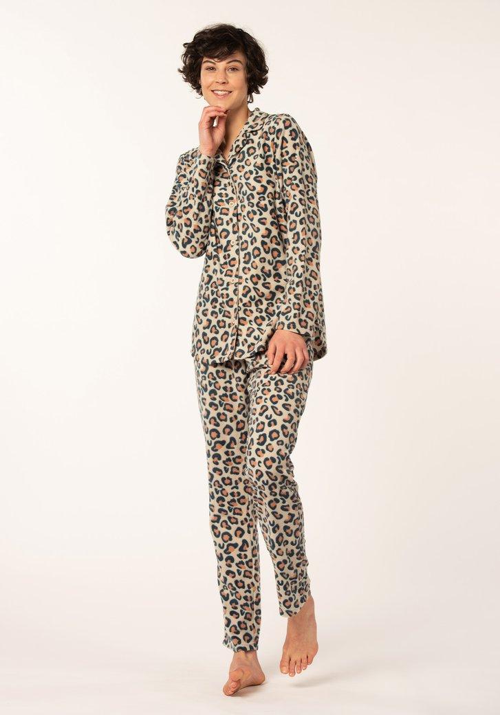 Beige pyjama met panterprint