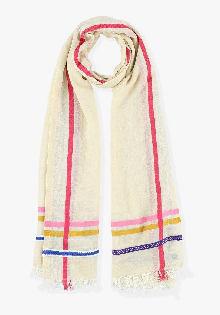 Beige sjaal met gekleurde strepen