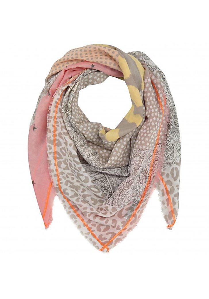 Beige sjaal met oranje details