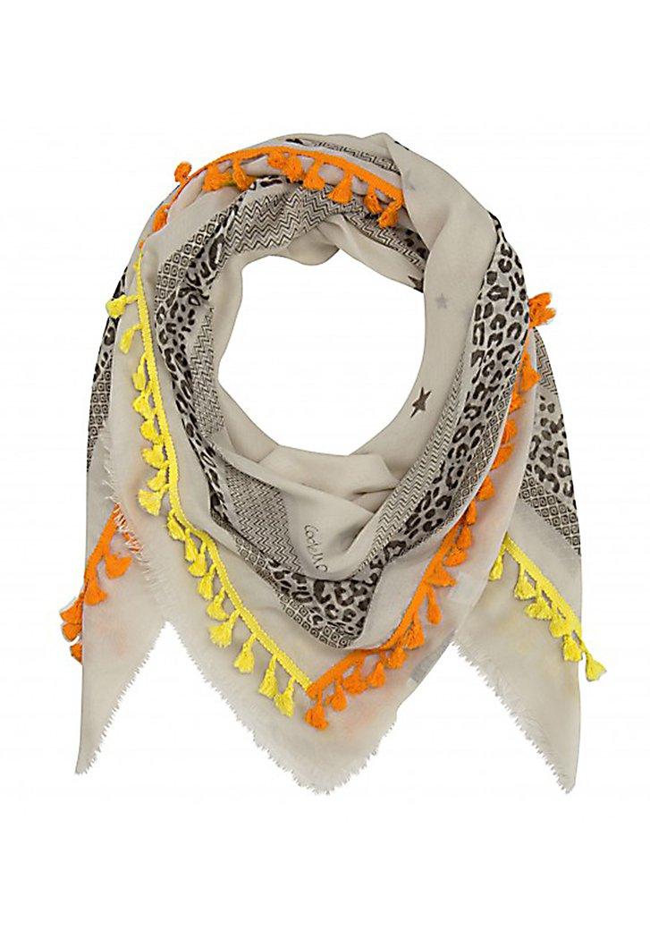 Beige sjaal met zwart motief en gekleurde tassels