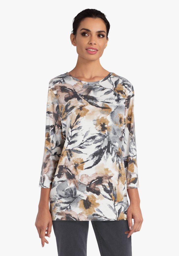 Beige T-shirt met bruin-grijze print