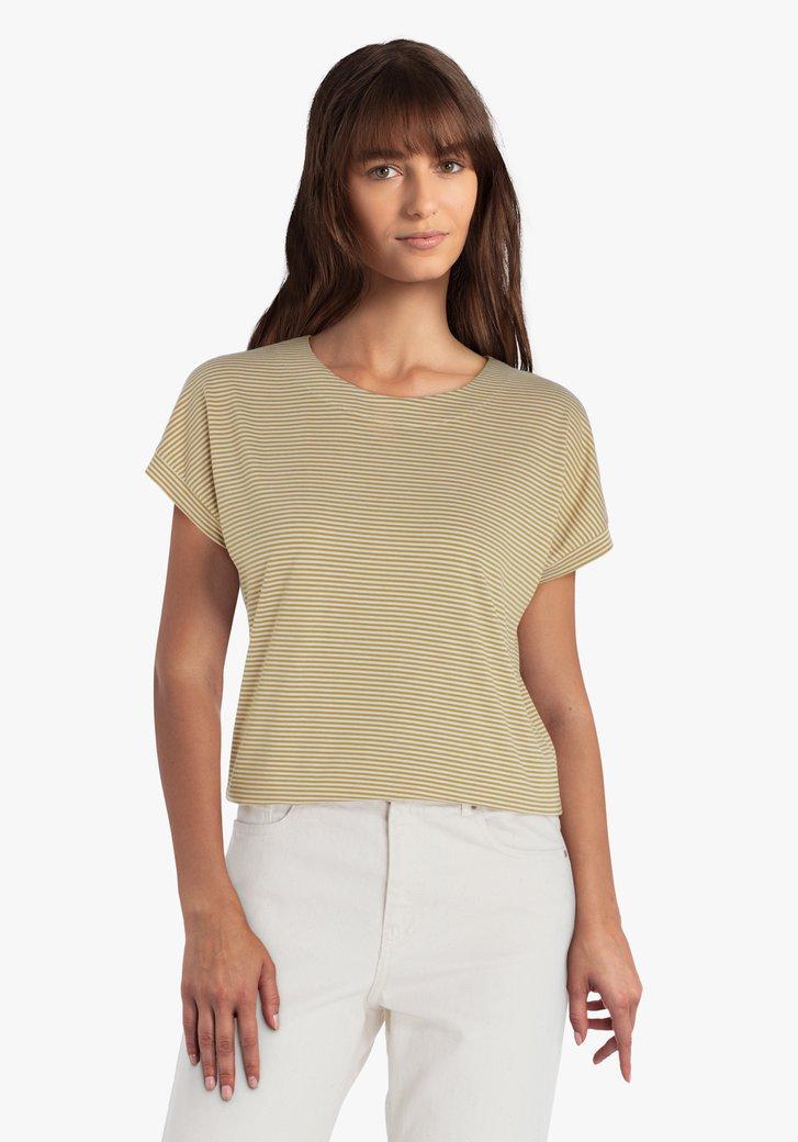 Beige T-shirt met bruine streepjes
