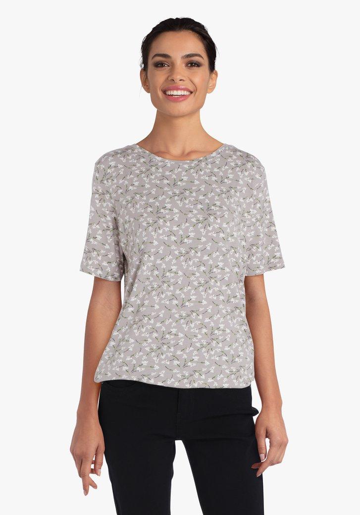 Beige T-shirt met kleine bloemetjes