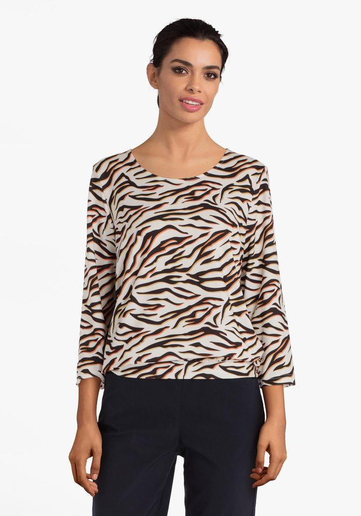 Beige T-shirt met leopardprint