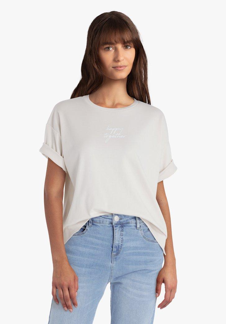 Beige T-shirt met opschrift