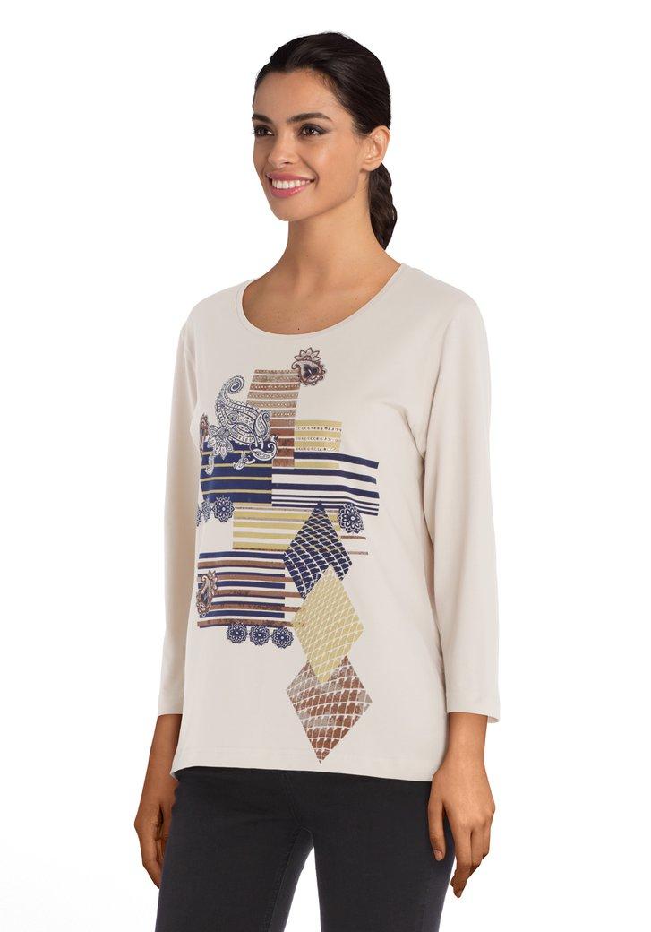 Beige T-shirt met print en strass