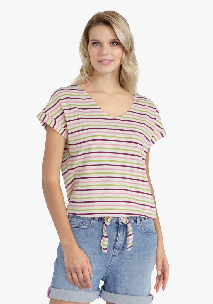 Beige T-shirt met roze-groene strepen