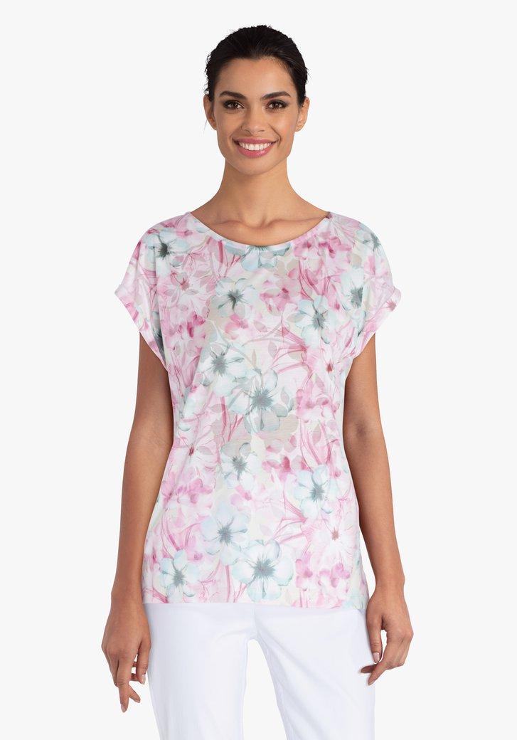 Beige T-shirt met zachtroze bloemenprint