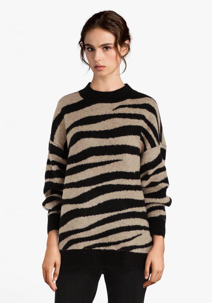 Beige-zwarte trui met zebraprint
