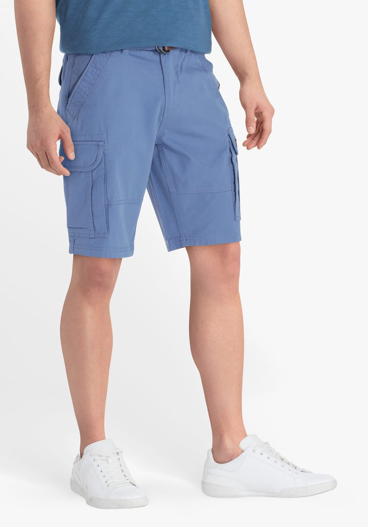 Bermuda bleu acier avec ceinture