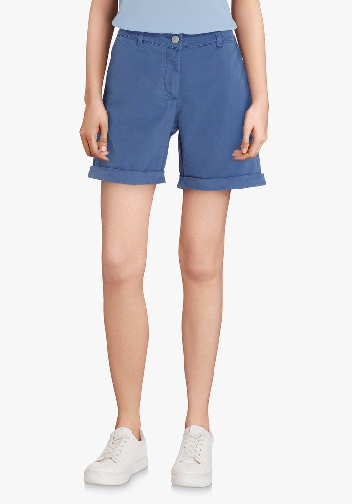 Bermuda bleu en coton extensible