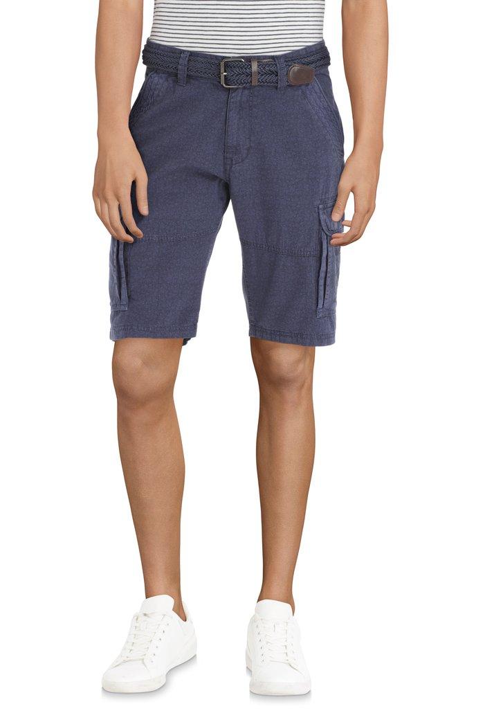Bermuda bleu foncé à motif en coton