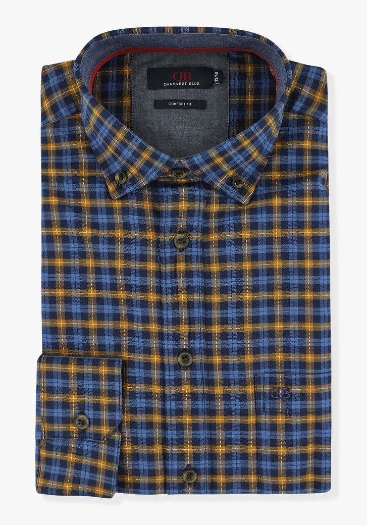Blauw-bruin geruit hemd - comfort fit
