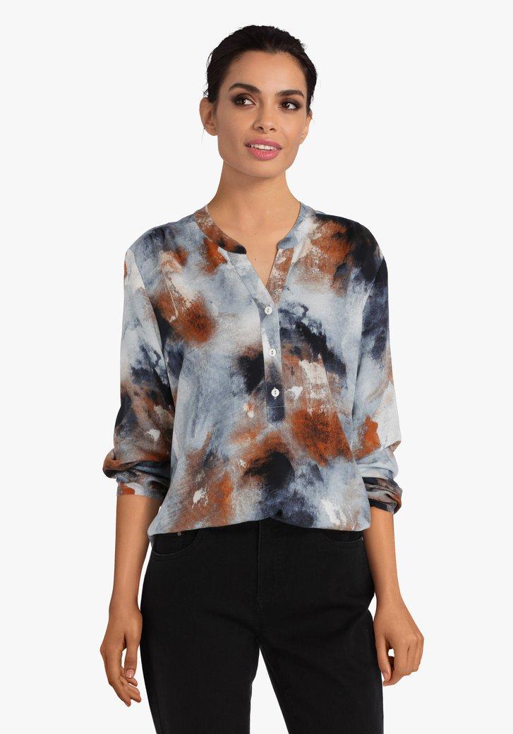 Blauw - bruin gevlekte blouse