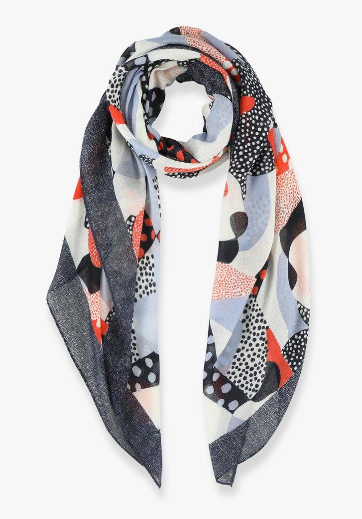 Blauw en oranje sjaal met stipjes
