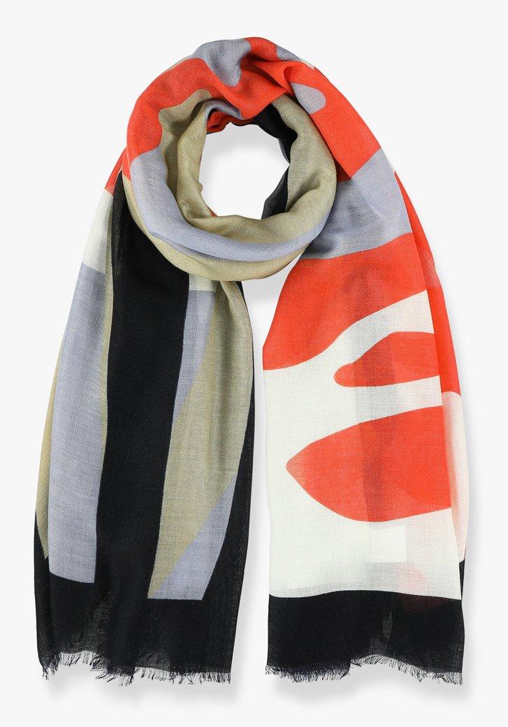 Blauw en oranje sjaal